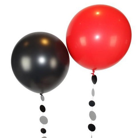 "30"" Giant Red and Black Latex Balloons"