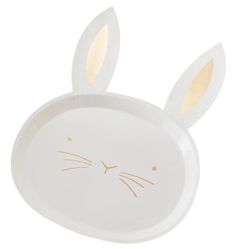 Gold Foil Easter Bunny Plates