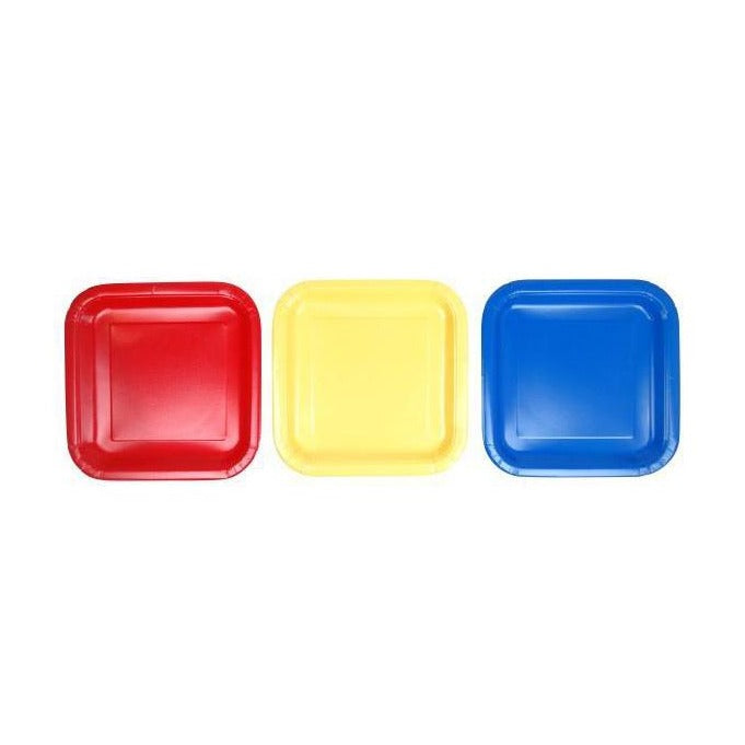 Block Coloured Square Paper Plates