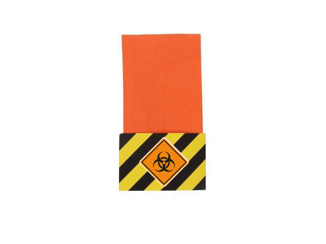 Orange Paper Napkins with Under Lockdown Themed Napkin Wraps
