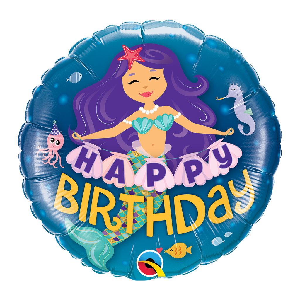 "18"" Happy Birthday Mermaid Balloon"