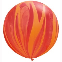 "30"" RED ORANGE RAINBOW SUPERAGATE LATEX BALLOONS"