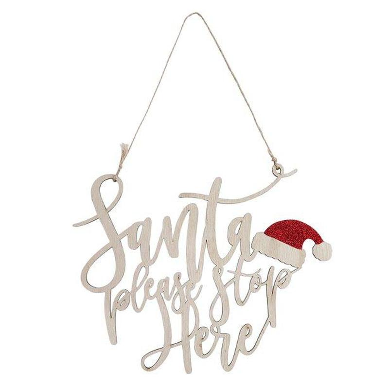 'Santa Please Stop here' Wooden Sign