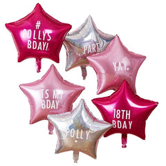 PERSONALISABLE STAR PARTY BALLOONS WITH STICKERS