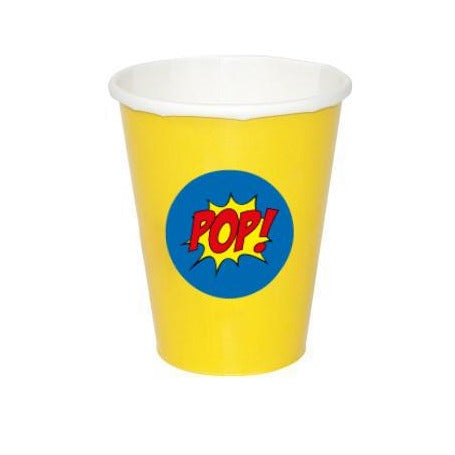 Yellow Paper Cups with 'Pop' Stickers