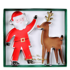 Santa and reindeer cookie cutters