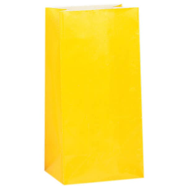 8 Yellow Paper Party Bags