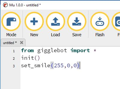 mu editor sample program for the GiggleBot