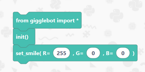 final edublocks program for the micro:bit robot GiggleBot