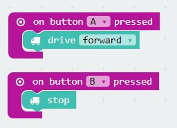 GiggleBot programming the micro:bit using the button A and button B on the micro:bit