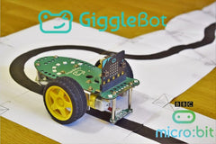 This time around, we are programming in MicroPython the Dexter Industries GiggleBot to follow a black line using its built-in line follower sensor.  The GiggleBot has to be paired with a BBC micro:bit in order for it to be controlled appropriately.  If this tutorial is too advanced for you and programming the GiggleBot is too much for now, you can always go through the starter tutorial that shows you how the robot can be programmed in MakeCode here . The linked tutorial will walk you through the very basics.