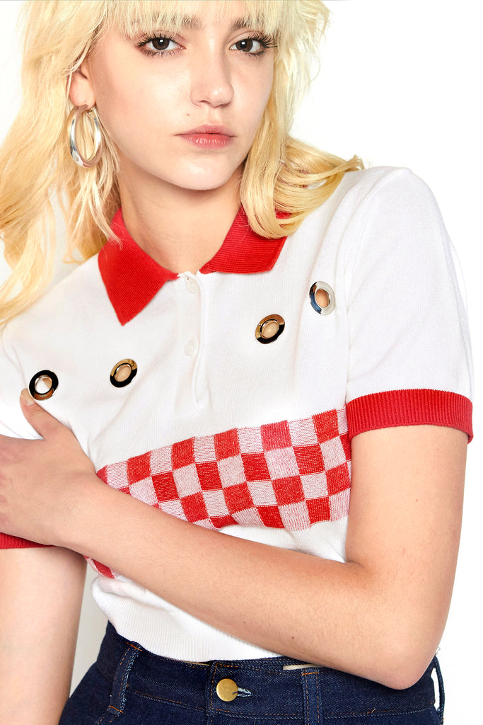 checkered polo sweater (White)
