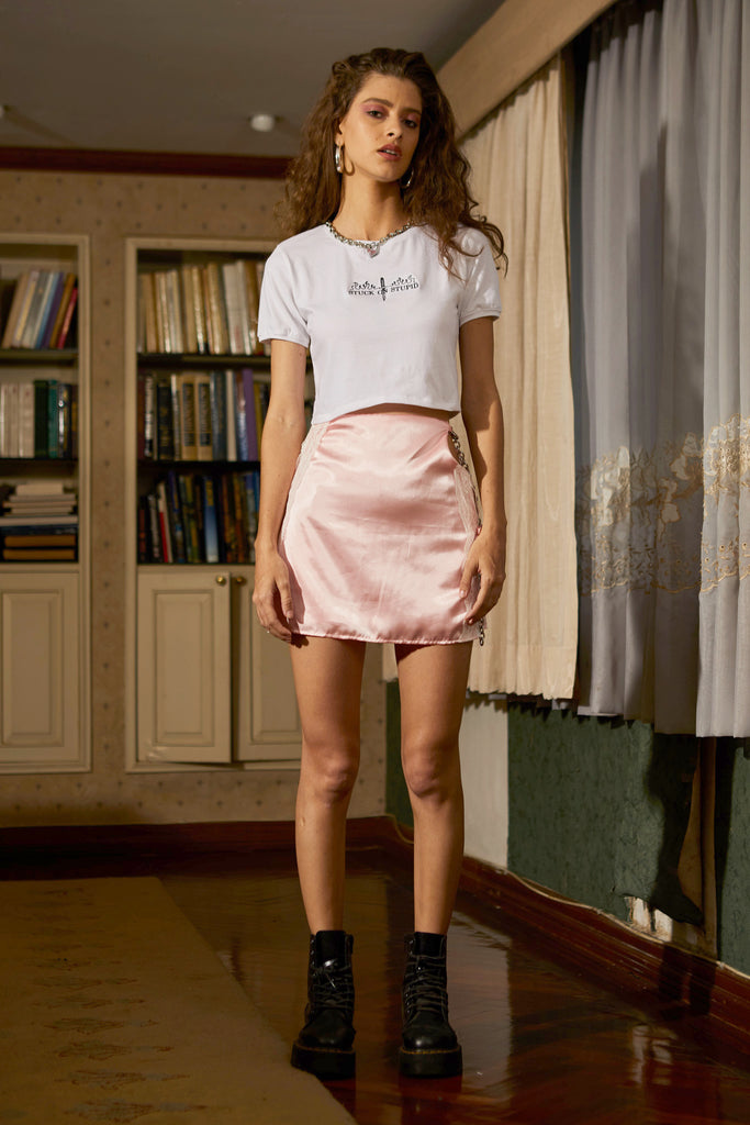 Satin lace skirt (pink)