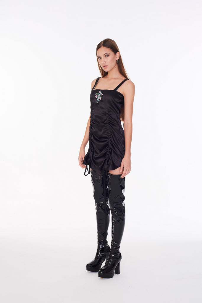 Cross and lily satin Dress (Black)