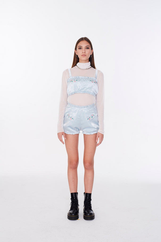 Lily and chain satin shorts (Light Blue)