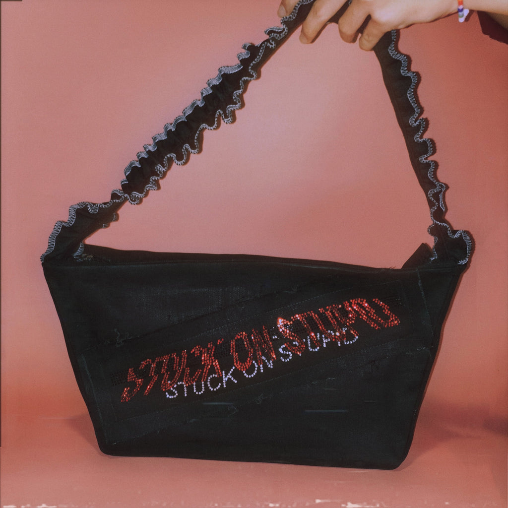 Stuck on stupid rhinestone bag (Not for sale)