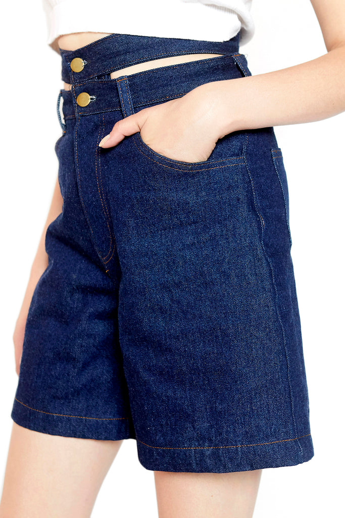 Double waistband denim short (Blue)