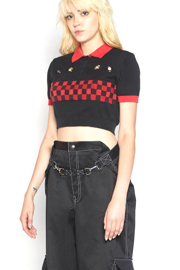 checkered polo sweater (black)
