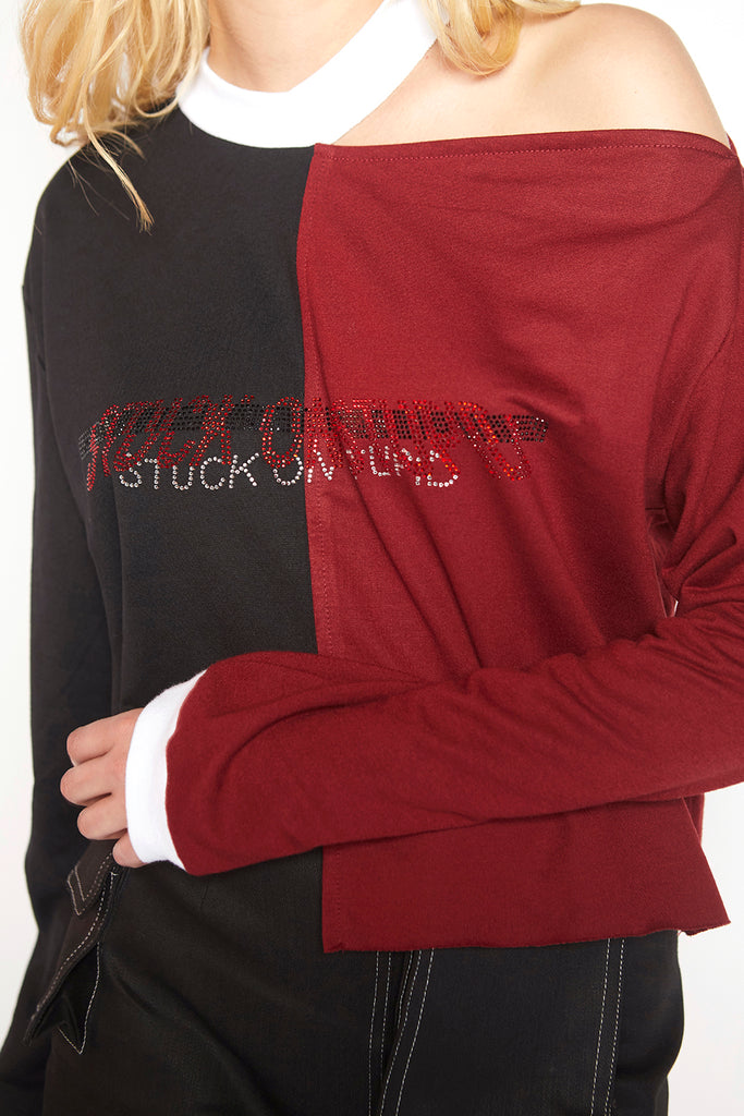 Stuck on stupid half & half sweatshirt (Red)