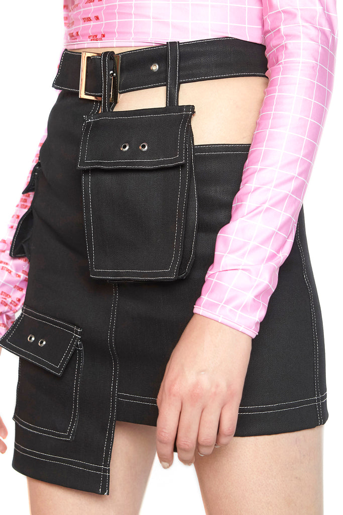 Black denim skirt with belt bag