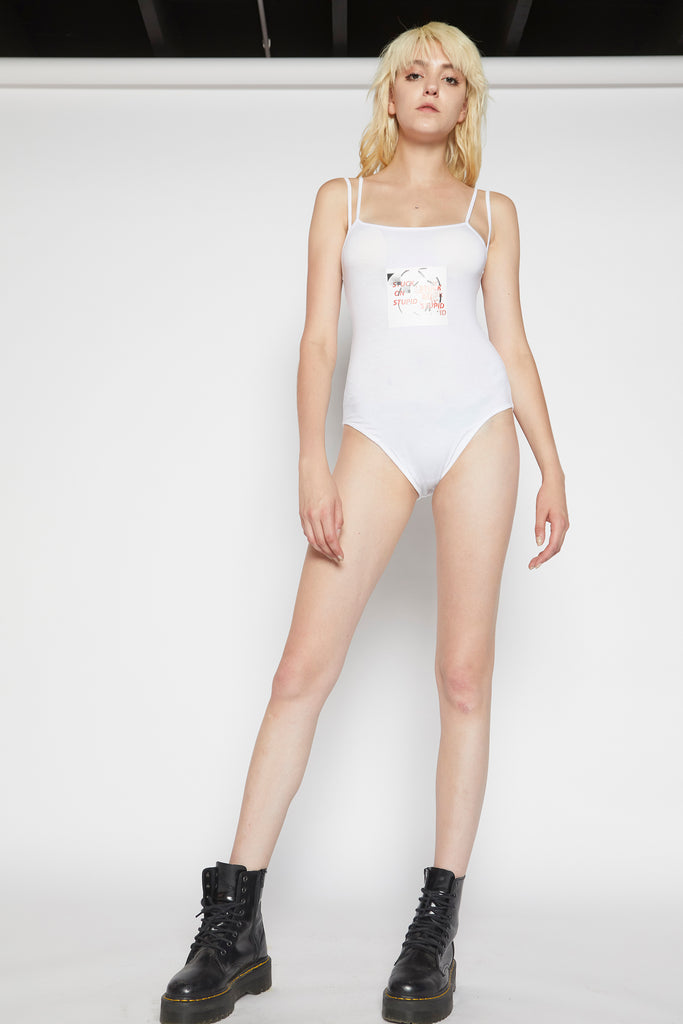 Stuck on stupid logo bodysuit (white)