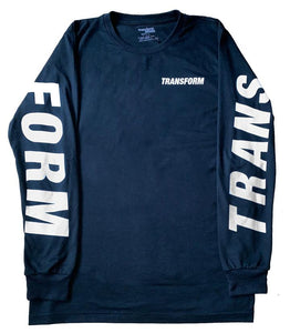 TRANSFORM THE FAST TEXT TEE LS NAVY