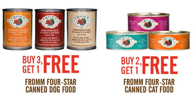 SAVE ON FROMM CANNED DOG AND CAT FOODS