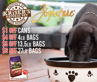 PRODUCT OF THE MONTH: ZIGNATURE CANS AND DRY FOOD