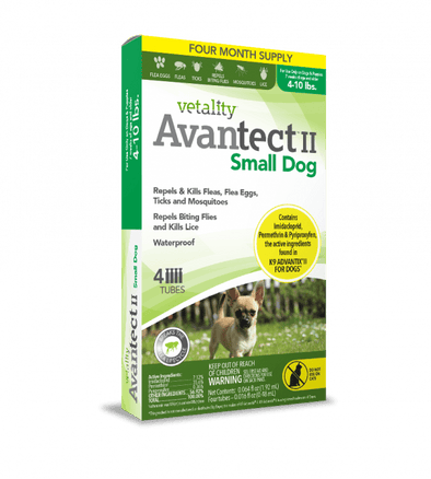 Vetality Avantect II Monthly Topical Flea and Tick Treatment for Small Dogs