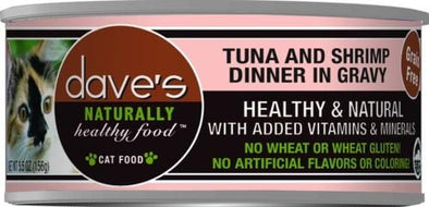 Dave's Naturally Healthy Tuna and Shrimp in Gravy Canned Cat Food