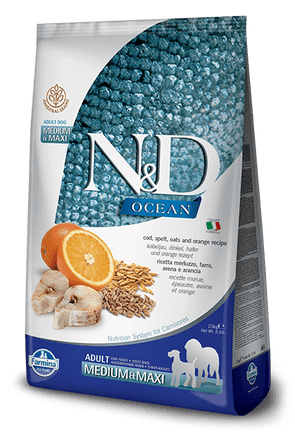 Farmina Ocean N&D Natural & Delicious Medium & Maxi Adult Cod, Spelt, Oats & Orange Dry Dog Food