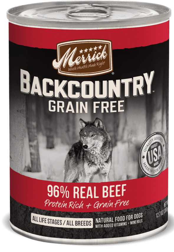 Merrick Backcountry Grain Free 96% Beef Recipe Canned Dog Food