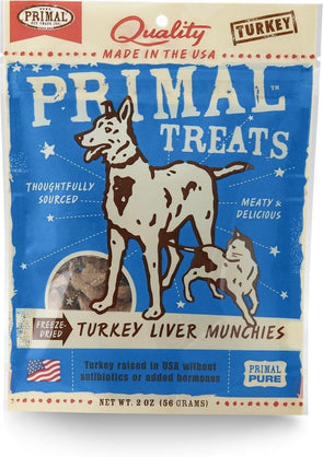 Primal Freeze-Dried Grain Free Turkey Liver Munchies Dog and Cat Treats