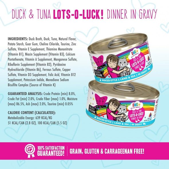 Weruva BFF Oh My Gravy Lots-O-Luck Grain Free Duck & Tuna in Gravy Canned Cat Food