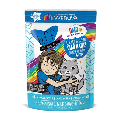 Weruva BFF Oh My Gravy Ciao Baby Grain Free Chicken and Shrimp in Gravy Cat Food Pouches