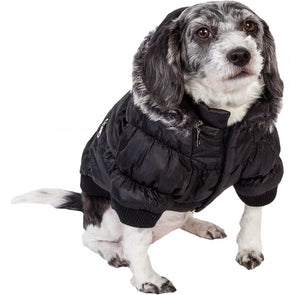 Pet Life Metallic Black Fashion Parka Insulated Dog Coat with Removable Hood