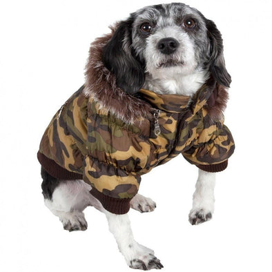 Pet Life Metallic Camouflage Fashion Parka Insulated Dog Coat with Removable Hood