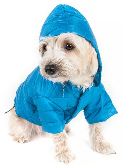 Pet Life Adjustable Blue Sporty Avalanche Dog Coat with Pop Out Zippered Hood