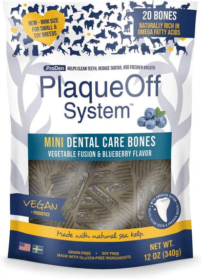 Proden PlaqueOff Mini Dental Vegetable & Blueberry Fusion Bones for Small Breed Dogs