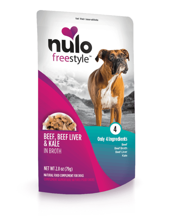 Nulo Freestyle Grain Free Beef Beef Liver & Kale in Broth Meaty Dog Food Topper Pouch