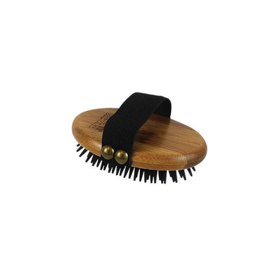 Bamboo Groom Curry Brush with Rubber Bristles for Pets