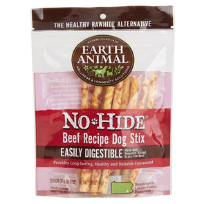Earth Animal 10-Pack No-Hide Beef Chew Stix Dog Treats