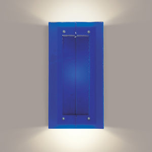Cobalt blue reclaimed glass wall sconce