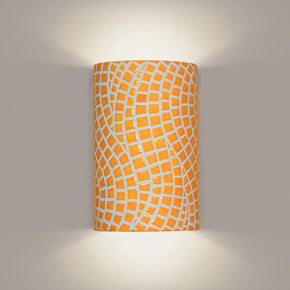 Yellow mosaic wall sconce