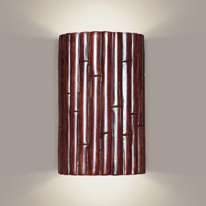 Bamboo wall sconce dark cherry stain