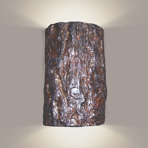 Tree bark wall sconce