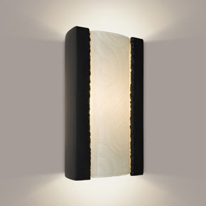 Clouds Matte Black and White Frost Wall Sconce