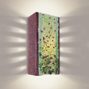 Wall sconce made from reclaimed glass, purple and green