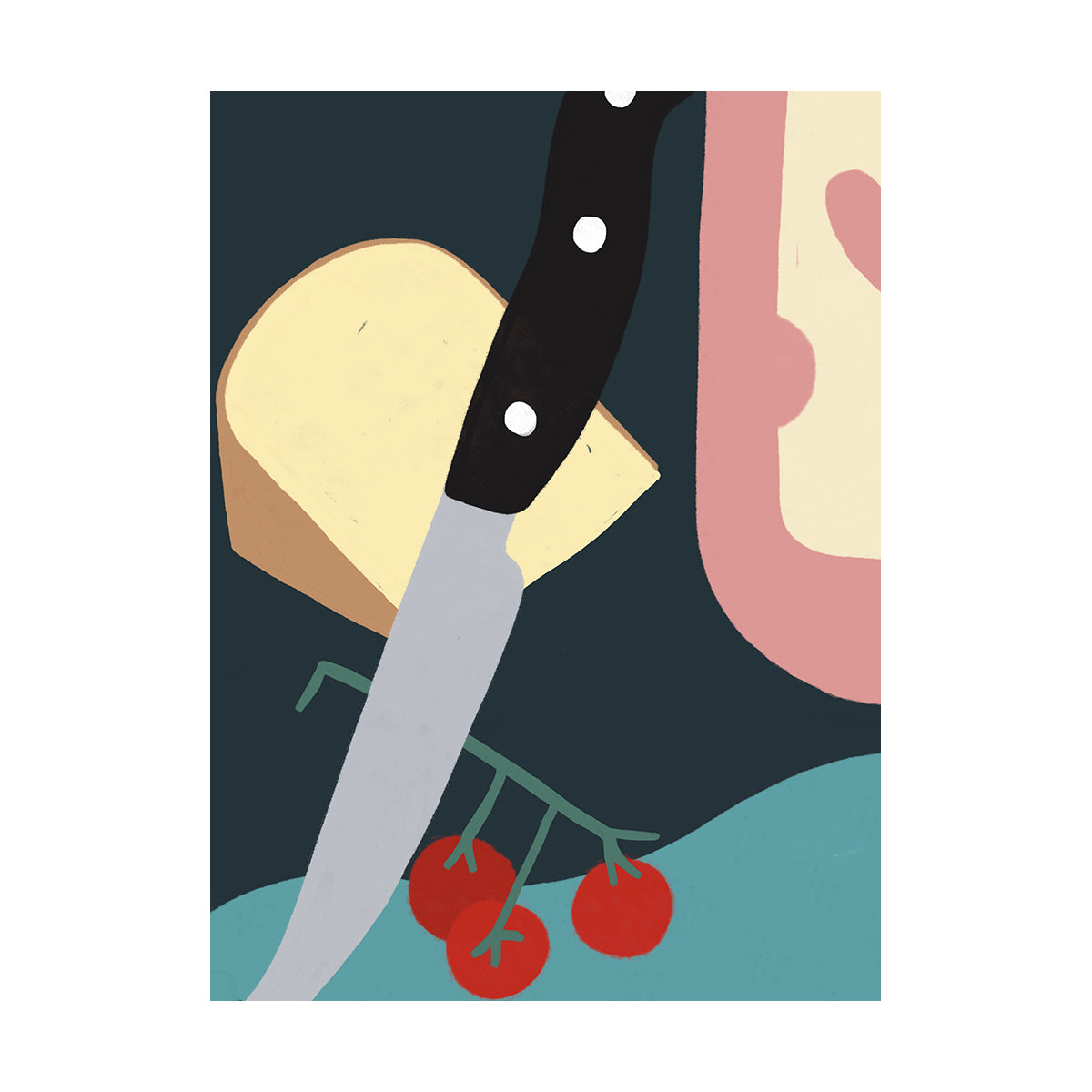 Cheesy Knife by Fabienne Meyer - art print