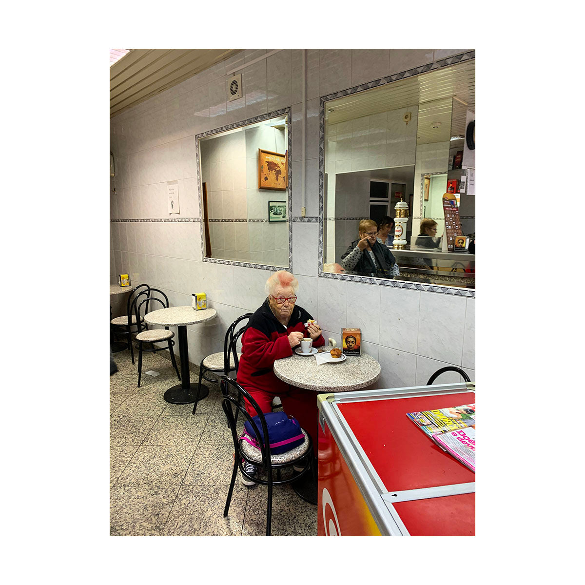 Lady during breakfast by Yago Barbosa - photography print